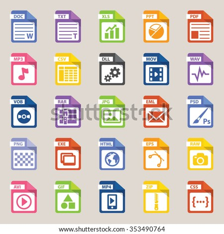 File types icon, vector art and illustration. - stock vector