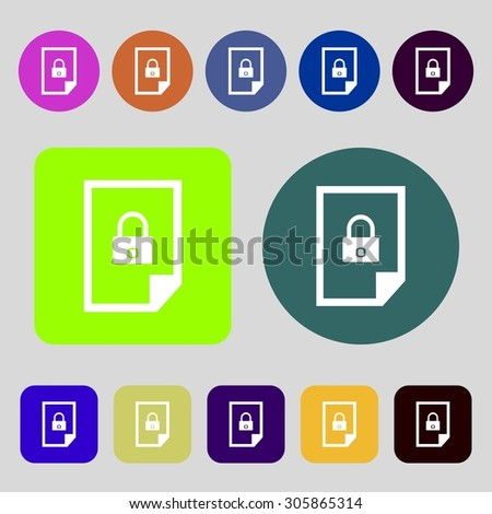 File unlocked icon sign.12 colored buttons. Flat design. Vector illustration - stock vector