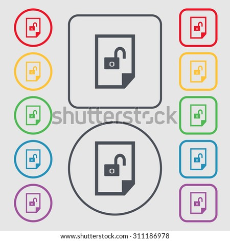 File unlocked icon sign. Symbols on the Round and square buttons with frame. Vector illustration - stock vector