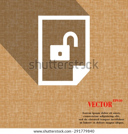 File unlocked icon symbol on abstract geometric background with long shadows. Vector illustration - stock vector