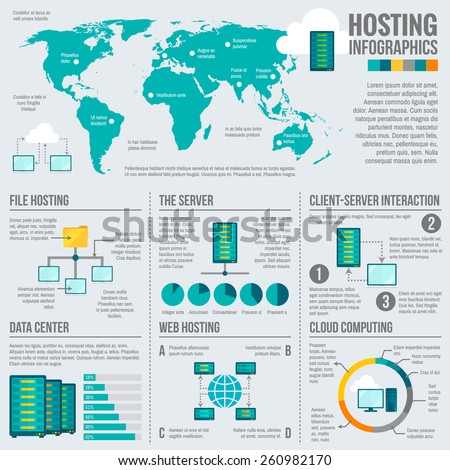 File web hosting cloud computing client server interaction worldwide statistics infographics report presentation data abstract vector illustration - stock vector