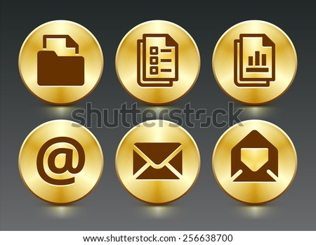 Files and Internet Communication on Gold Round Buttons