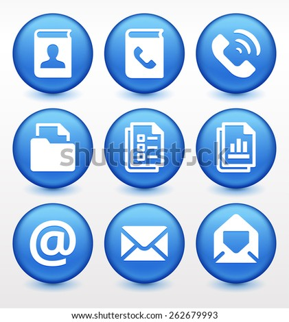 Files and Modern Communication on Blue Round Buttons