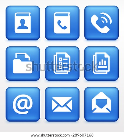 Files and Modern Communication on Blue Square Buttons