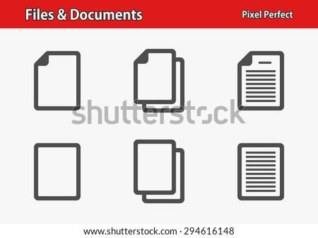 Files & Documents Icons. Professional, pixel perfect icons optimized for both large and small resolutions. EPS 8 format. - stock vector