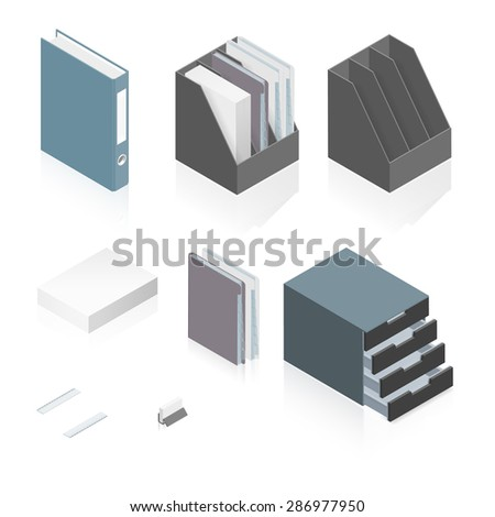 Files, folders, paper stack, storage boxes and a detailed isometric set vector graphic illustration - stock vector