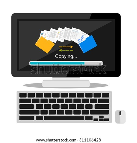 Files transfer illustration. Copying files or documents on computer concept illustration.   - stock vector
