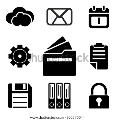 Files web and mobile logo icons collection isolated on white back. Vector symbols of documents, lock, gear and etc - stock vector