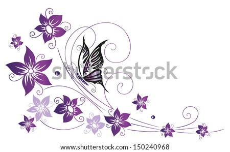 Filigree Colorful flowers, purple, violet with butterfly - stock vector