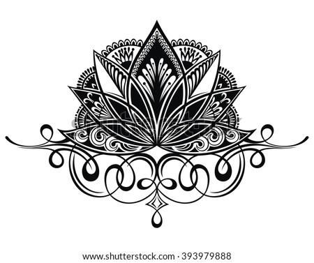 Filigree lotus flower - stock vector
