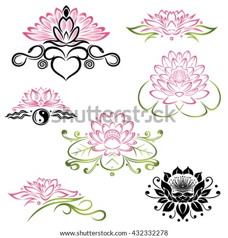 Filigree Lotus flowers, floral vector set, yoga style. - stock vector