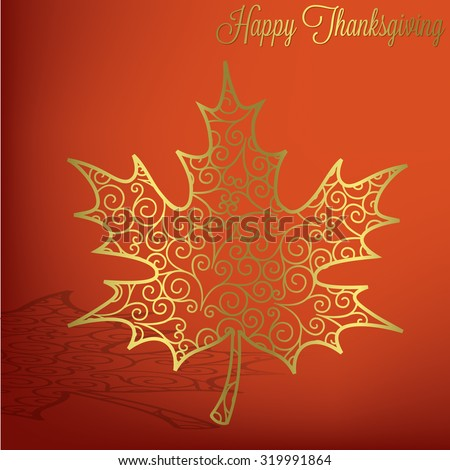 Filigree maple leaf Thanksgiving card in vector format - stock vector