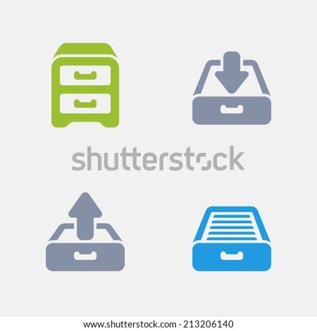 Filing Cabinet Icons. Granite Series. Simple glyph stile icons in 4 versions. The icons are designed at 32x32 pixels. - stock vector