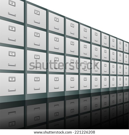 Filing cabinets in a row vector background illustration  - stock vector
