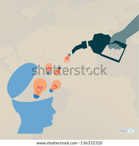 Fill idea,light bulb growth in brain - stock vector