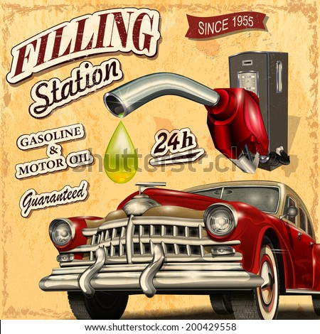 Filling station retro poster - stock vector