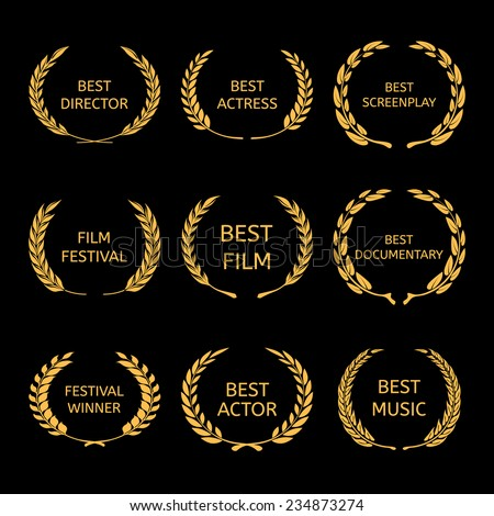 Film Awards, gold award wreaths on black background Vector  - stock vector