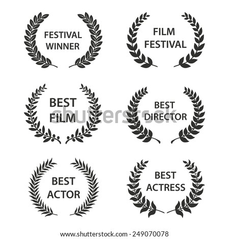 Film Awards. Set of black and white silhouette award wreaths. Vector eps 10 illustration. - stock vector