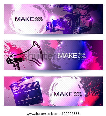 film, camera and equipments vector banners. make your movie - stock vector