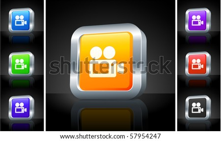 Film Camera Icon on 3D Button with Metallic Rim Original Illustration - stock vector