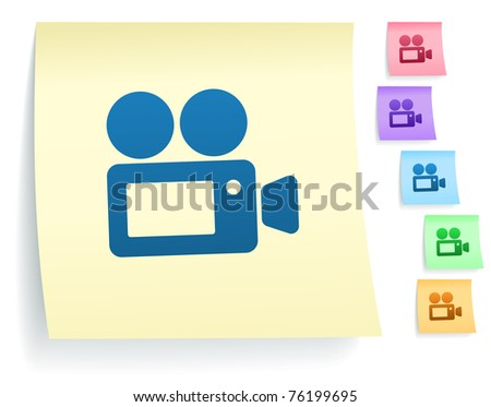 Film Camera Icon on Post It Note Paper Collection Original Illustration - stock vector