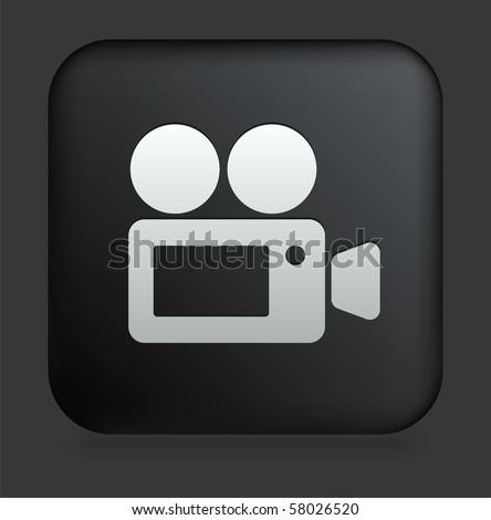 Film Camera Icon on Square Black Internet Button Original Illustration - stock vector