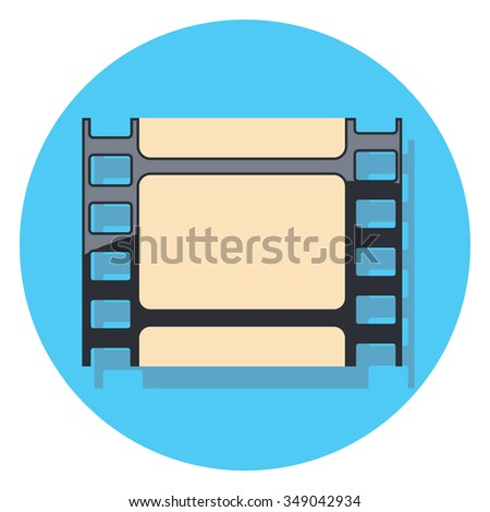 film circle icon with shadow - stock vector