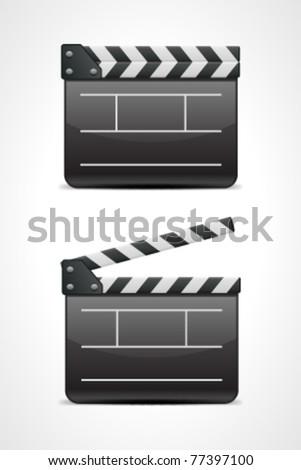 Film clap board cinema vector illustration. Eps 10. - stock vector
