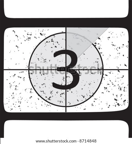 Film countdown at number 3. Vector illustration - stock vector
