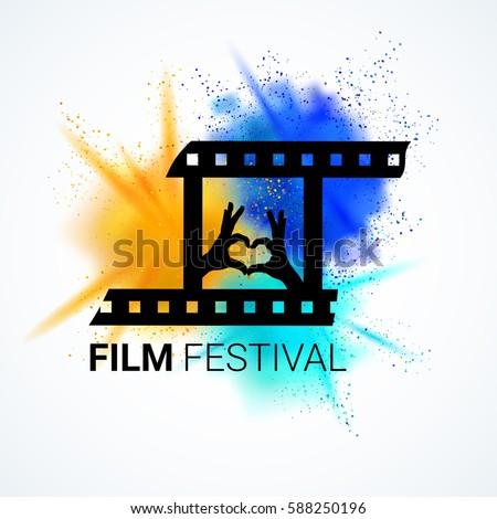 Film Festival Emblem Movie Time Poster Logo Design Cinema Flyer Vector