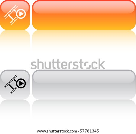 Film glossy square web buttons. - stock vector