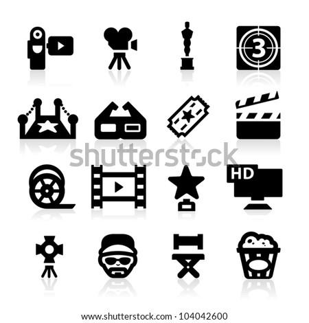 Film industry icons set - Elegant series - stock vector