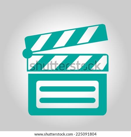 Film maker clapper board  icon. Flat design style. - stock vector