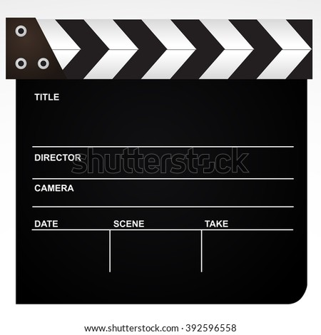 Film, movie clapper realistic icon isolated on white background. Vector art. - stock vector