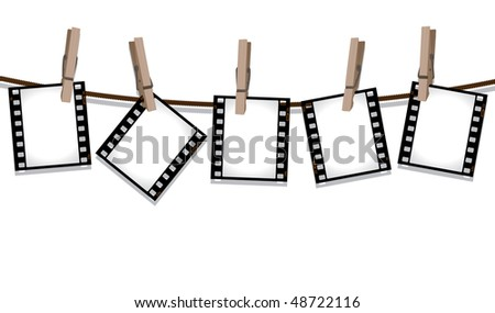 Film negatives hanging on a line - stock vector