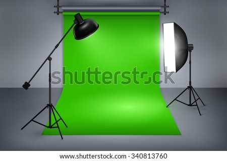 Film or photo studio green screen. Interior with equipment, photography and flash spotlight. Vector illustration - stock vector