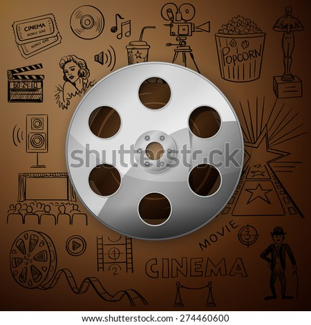 Film Reel and hand draw cinema icon, excellent vector illustration, EPS 10 - stock vector