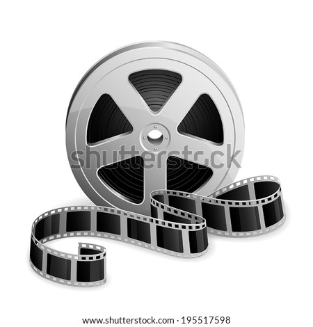 Film reel and twisted cinema tape isolated on white background, illustration. - stock vector