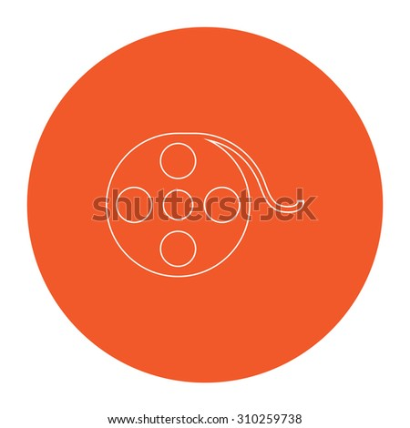 Film reel. Flat outline white pictogram in the orange circle. Vector illustration icon - stock vector