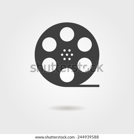 film reel icon with shadow. concept of filmmaking, documentary, photograph, cinematograph and 35 mm film. isolated on grey stylish background. trendy modern logo design vector illustration - stock vector