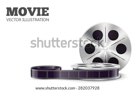 Film reel isolated on white - stock vector