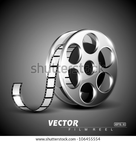 Film reel on grey stage background. EPS 10. - stock vector