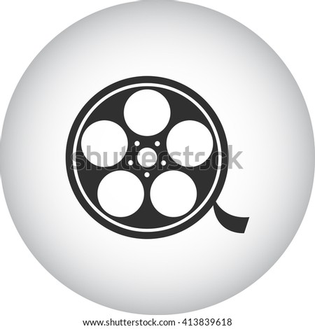 Film reel sign simple icon on  background