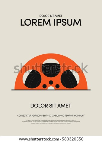 Film reel vintage retro poster background, vector illustration