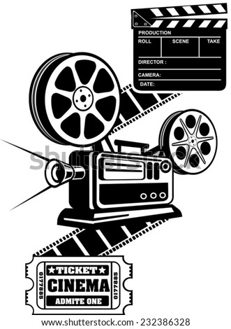 Film Reels and Clapper board  cinema ticket - stock vector