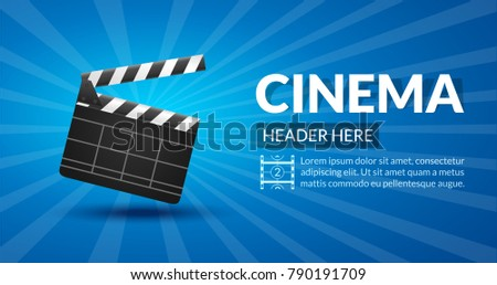 Film Retro Cinema Or Movie Concept Template Banner Poster Background Illustration With