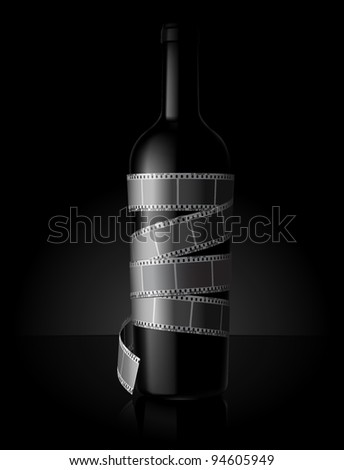 Film rolled over wine bottle - stock vector