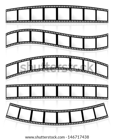 Film rolls on white, their eps 10 reflections following their curves, can be put on any background - stock vector