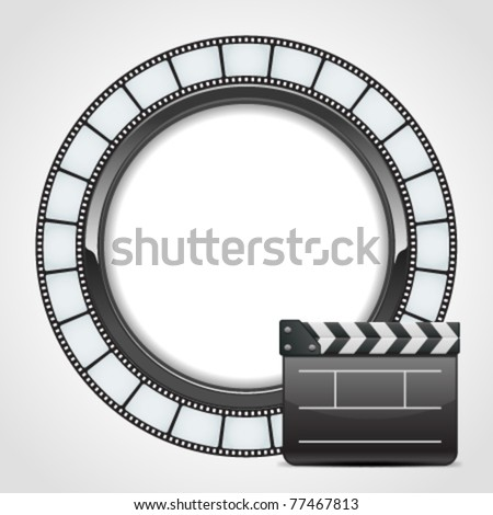 Film round tape with cinema clap vector background. Eps 10. - stock vector