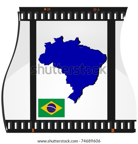 film shots with a national map of Brazil - stock vector